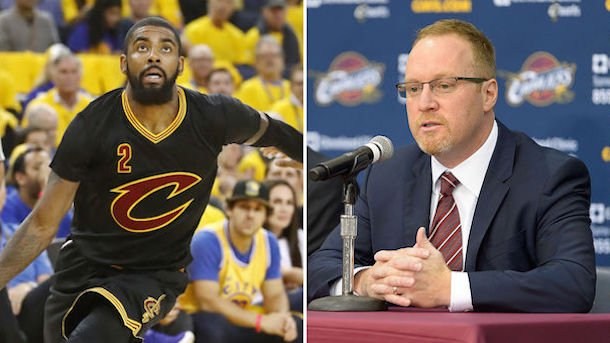 David Griffin standing behind Kyrie Irving's Cavaliers trade request