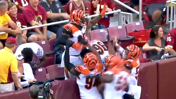 vontaze burfict dances in stands after pick 6 nfl celebration policy