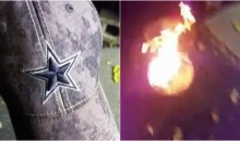 Angry Cowboys Fan Burns Cap After Team Kneels Before Anthem (VIDEO)
