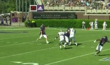 ECU Punter Nails Teammate In Back Of The Head With Kick (VIDEO)