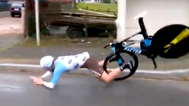 French cyclist Maxime Roger crashes after handlebars break off