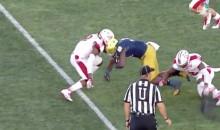 Helmet-to-Helmet Hit Causes Notre Dame RB's Helmet To Shatter (VIDEO)