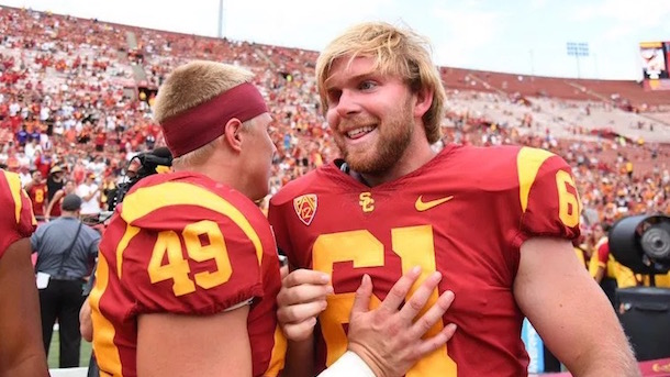 blind usc long snapper jake olson pac-12 special teams player of the week