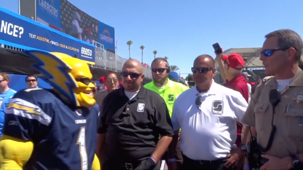 boltman run-in with security at chargers game