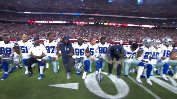 Cowboys Kneel Together Prior to Anthem; Trump Notes Boos