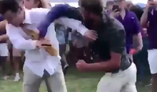 Kid With A Broken Arm Knocks A Kid Out Cold At LSU Tailgate (VIDEO)