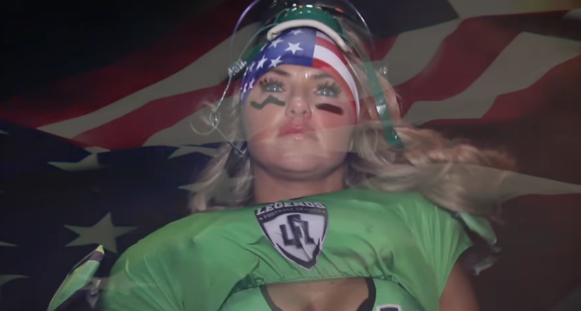 Lingerie football league says 'we stand' for national anthem