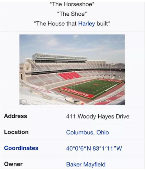 oklahoma ohio state wikipedia war baker mayfield owns ohio stadium