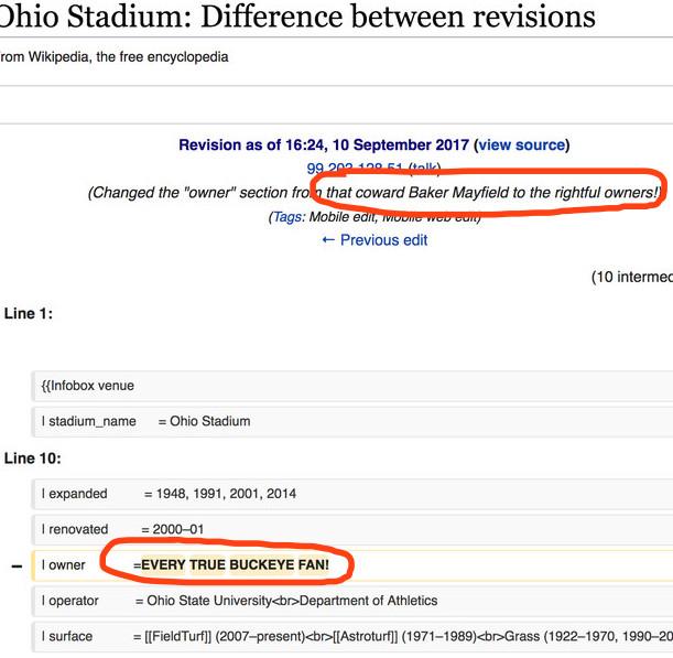 oklahoma ohio state wikipedia war qb baker mayfield owns ohio stadium