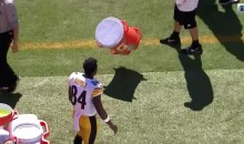 Upset Antonio Brown Takes His Frustrations Out On The Gatorade Bucket (VIDEO)
