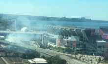 LOL!: There Was Literally a Dumpster Fire Outside the Cleveland Browns' Stadium (PIC)