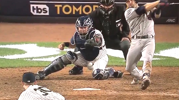 Gary Sanchez foul tip to the nuts