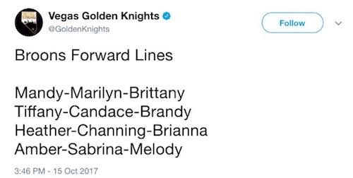 Golden Knights Sexist Tweet