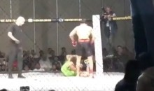 MMA Fighter KO's Opponent With Kick While Laying On His Back (VIDEO)