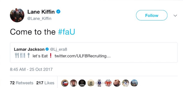 Lane Kiffin Tweets at Lamar Jackson 1