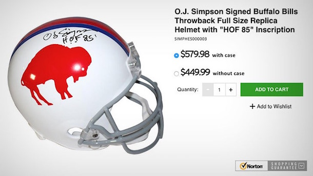 OJ Simpson autographed helmets selling for $400