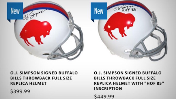 OJ Simpson Newly Signed Helmets Selling for a Killing