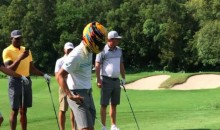 Steph Curry Tried Golfing With Lewis Hamilton's Helmet On…And It Didn't Go Well (Video)