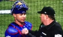Ump Jokingly 'Punches' Cubs Catcher Wilson Contreras After Taking Ball To The Face Because Of Him (VIDEO)