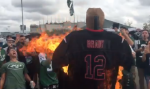 Jets Fans Burn Autographed Brady Jersey Before Game Against Patriots (VIDEO)