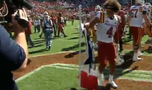 ISU Player Plants 'Iowa State' Flag at Midfield In Oklahoma, Weeks After Baker Mayfield Did It To OSU (VIDEO)