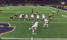 NC State O-Line Didn't Bother To Move Against Notre Dame & It Resulted In A Pick-Six (VIDEO)