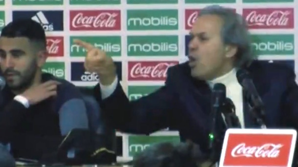 Riyad Mahrez Watches On As Algeria Manager Loses His Shit With Journalist