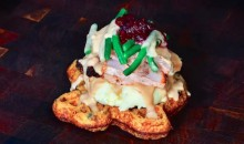 Cowboys Serving Up Texas-Shaped Thanksgiving Waffles Topped with Turkey, Mashed Potatoes, Gravy, and Cranberries (Pic)