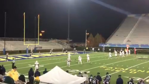 college football team kicks off from opponent's 10-yard line