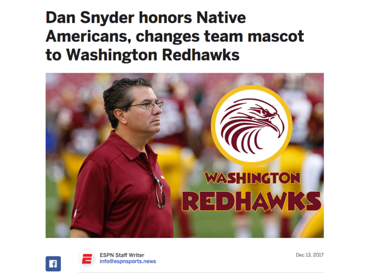 Redskins deny name change to 'Redhawks' after internet hoax