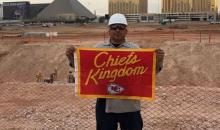 Chiefs Fan Buries Flag Under The Raiders New Stadium In Las Vegas
