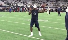 Dez Bryant Was Warming Up Without Shoes Last Night For a Very Good Reason (VIDEO)