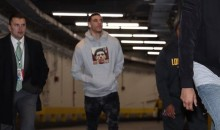 Lonzo Ball Enters MSG Wearing Hoodie With Face Superimposed Over Nas Album Cover