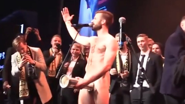 Norwegian Soccer Player Strips and Has Sex with King's Cup Championship Trophy 4