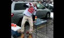 Browns Fan Tries To Go Full 'Bills Mafia' On a Table & Fails Miserably (VIDEO)