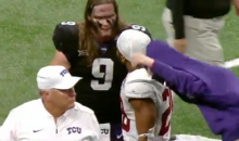 Bandwagon Fan Takes Off TCU Hoodie To Take Selfie With Stanford's Bryce Love (VIDEO)