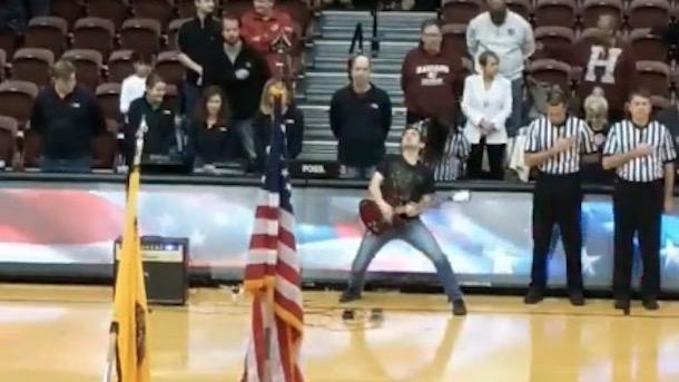 electric guitar national anthem Fordham basketball