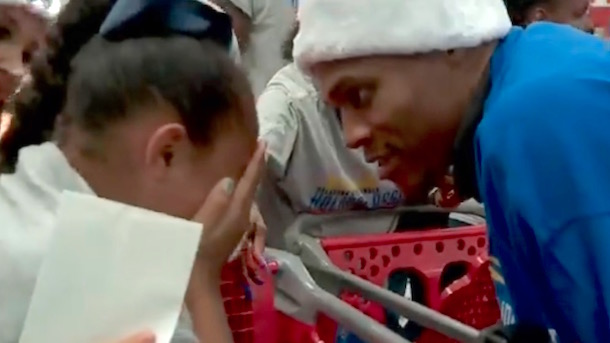 little girl cries when paired with russell westbrook at thunder holiday assist shopping spree