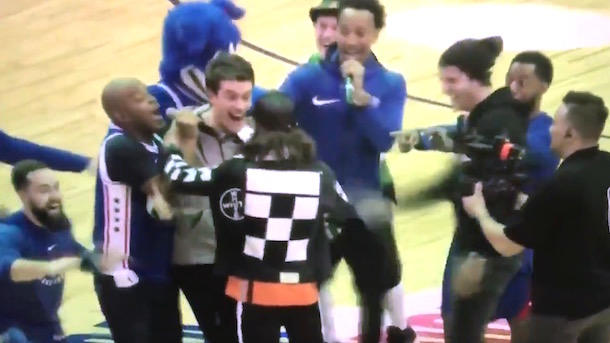 76ers Prank Fan Make Him Think He Made Blindfolded Three-Pointer