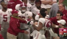 Alabama LB Mekhi Brown Punches Georgia Player, Then Erupts On Sidelines At Coaching Staff (VIDEO)