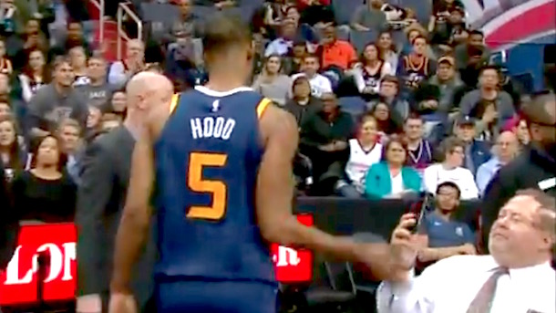 Rodney Hood ejected, slaps phone out of fan's hand