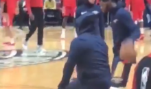 Pelicans Fan Sneaks On Court For Warmups, Stretches & Starts Taking Shots (VIDEO)