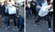76ers' Joel Embiid Became Enraged & Shoved An Eagles Fan During Tailgate (VIDEO)