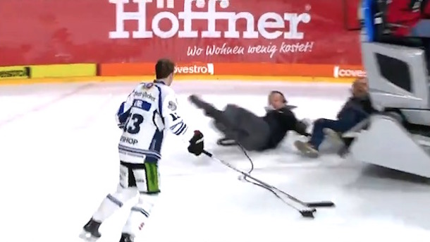 german hockey player almost run over by zamboni driver
