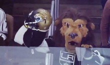 LA Kings Mascot Trolls Pittsburgh Penguins With A Jaguars Helmet Over Their Bench (VIDEO)