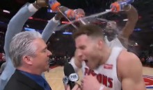 Blake Griffin Gets On-Court Shower from Teammates After First Game with Pistons (Video)