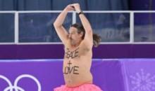 Streaker Invades Olympics Speedskating With Powerful Message Written On Him (PICS + VID)