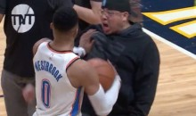 Russell Westbrook Shoves Fan Who Gets In His Face On The Court (VIDEO)