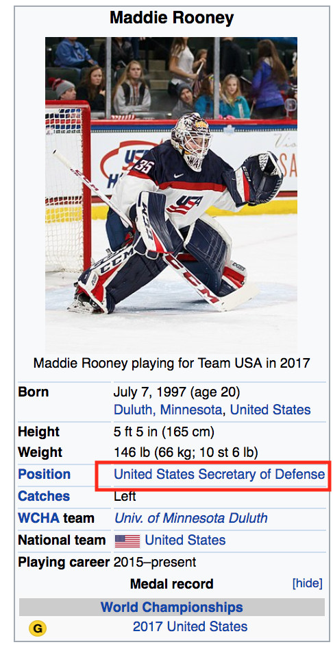 U.S. Hockey Goalie Maddie Rooney Gets Wikipedia Update After Stellar Gold Medal Performance