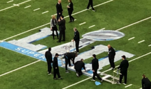 Grounds Crew Forgot To Add Hash Marks Over The Super Bowl Logo